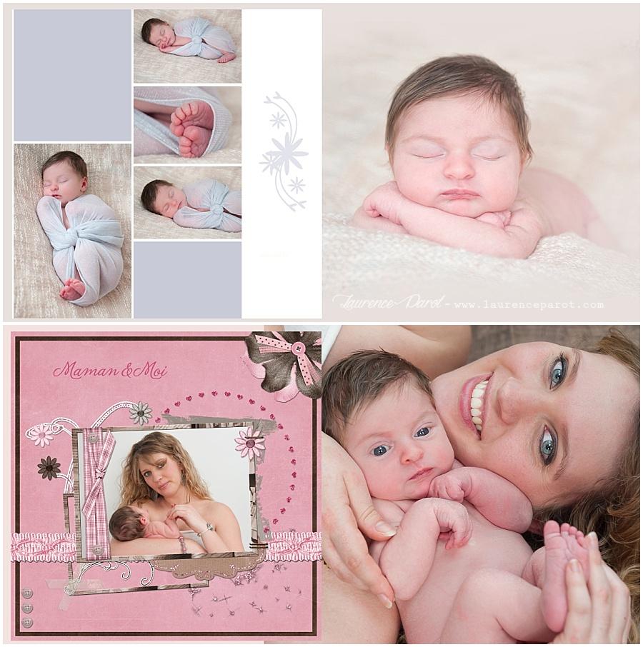 Album naissance famille personnalisé en scrapbooking digiscrap scrap dgital laurence parot photographe naissance essonne vigneux sur seine