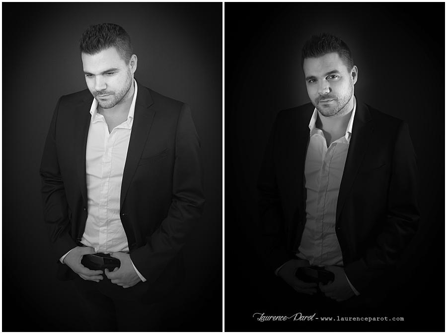 portrait noir et blanc en studio