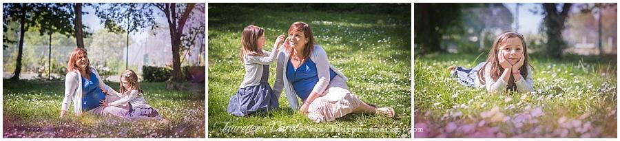 photo grossesse maman et grande sœur au port aux cerise - Draveil