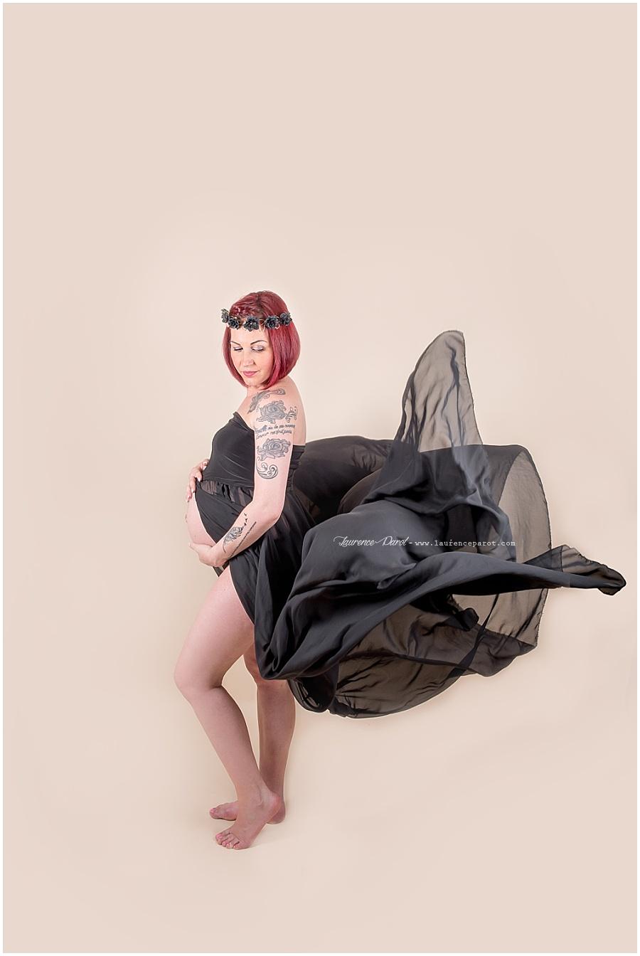 robe de grossesse en voilage pour séance photos