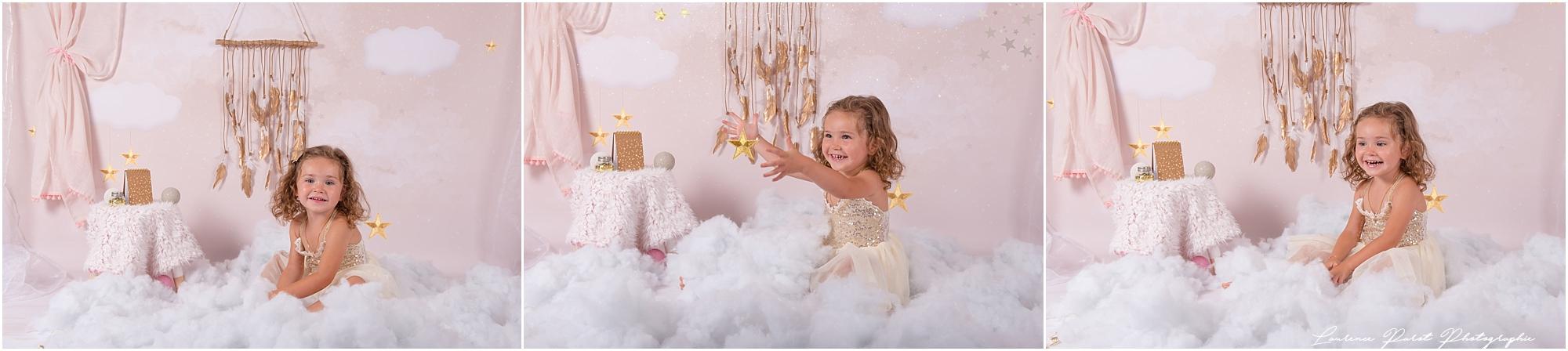 seance enfants cocooning nuages étoiles rose paillettes